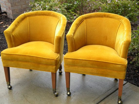 Pair Of Midcentury Barrel Chairs On Casters In By Shopoldandnew, $350.00