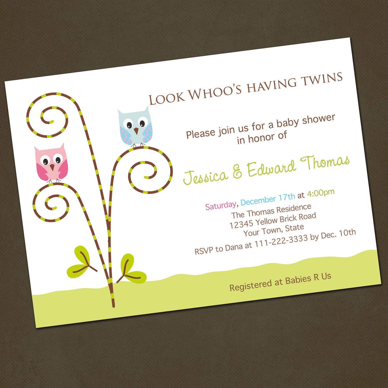 Owl Twins Baby Shower Invitations | Baby Shower Ideas | Pinterest ...