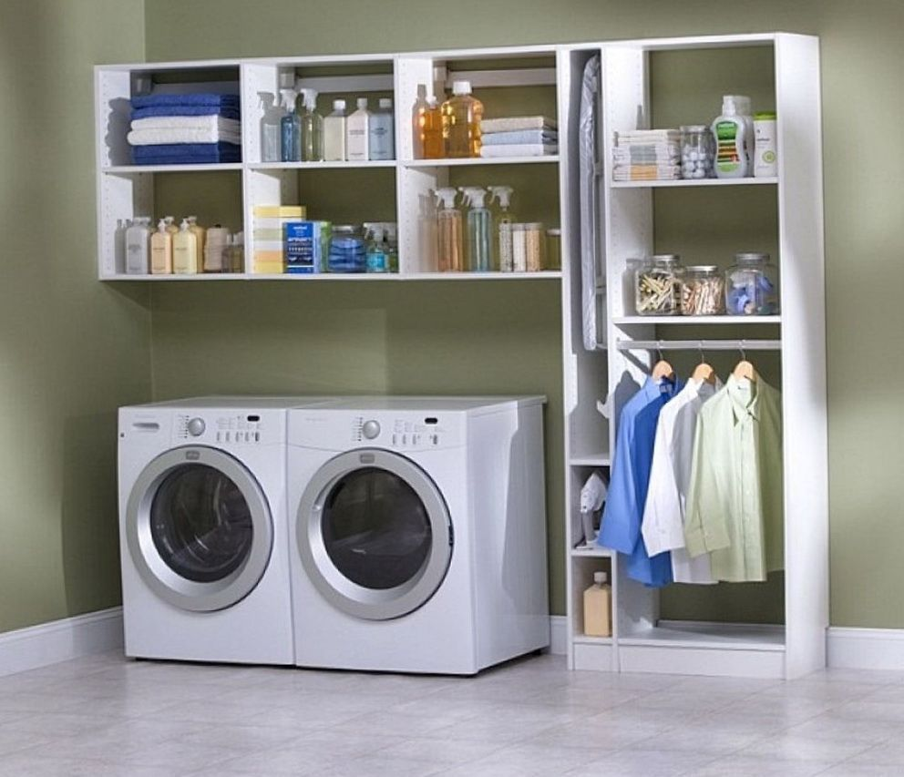 Laundry Room Storage Ideas  Small laundry rooms, Garage laundry