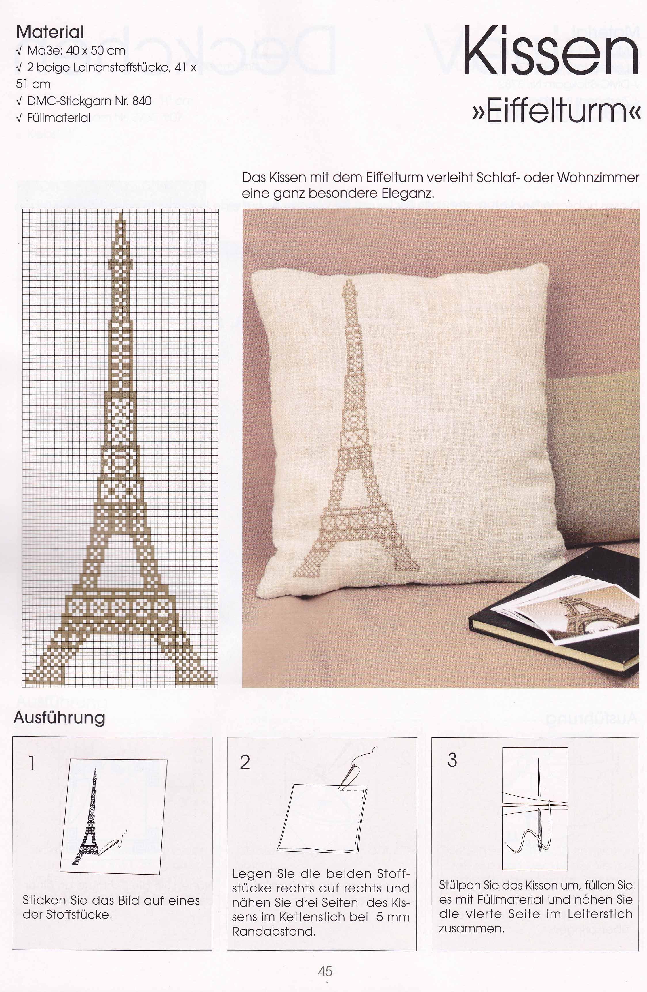 Cojín Torre Eiffel punto de cruz | puntos y bordados | Pinterest ...