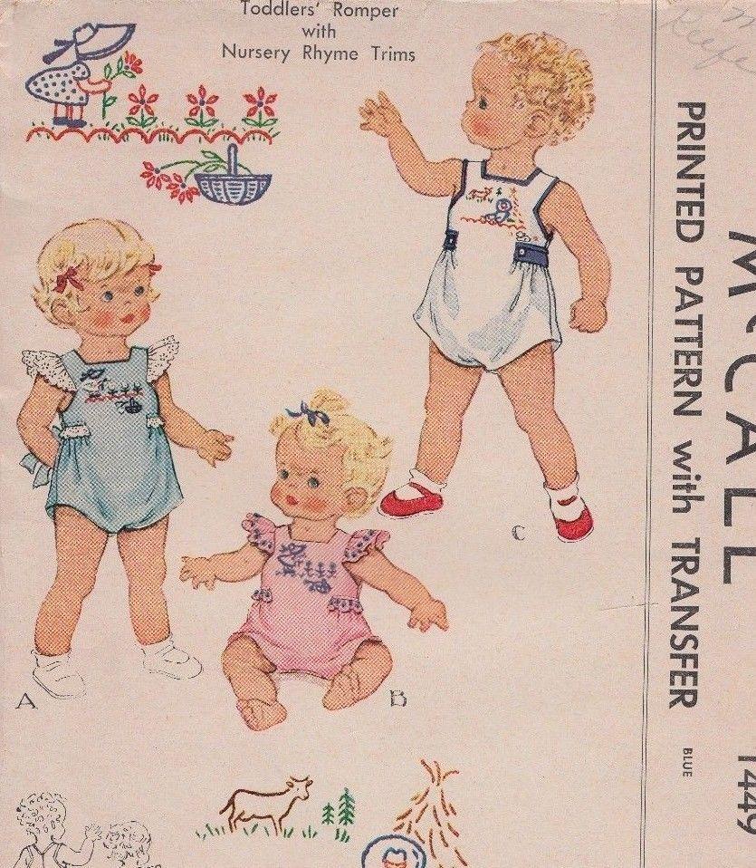 Unused, Vintage McCall Child\'s Nursery Romper/Sunsuit Sewing Pattern ...