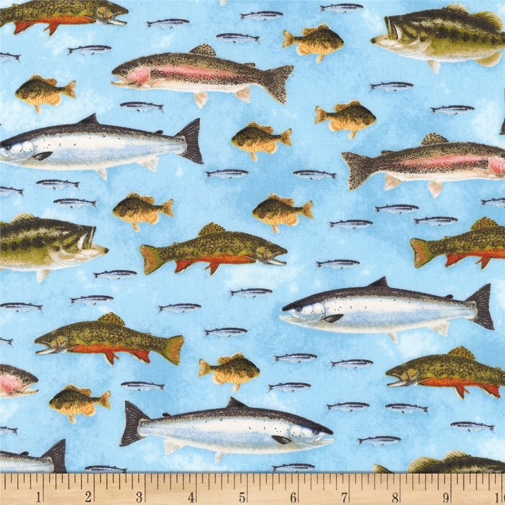 Fish Freshwater Lake From @fabricdotcom From Nick Mayor Art For Robert  Kaufman, This Cotton Print Fabric Is Perfect For Quilting, Apparel, And Home  Decor ...