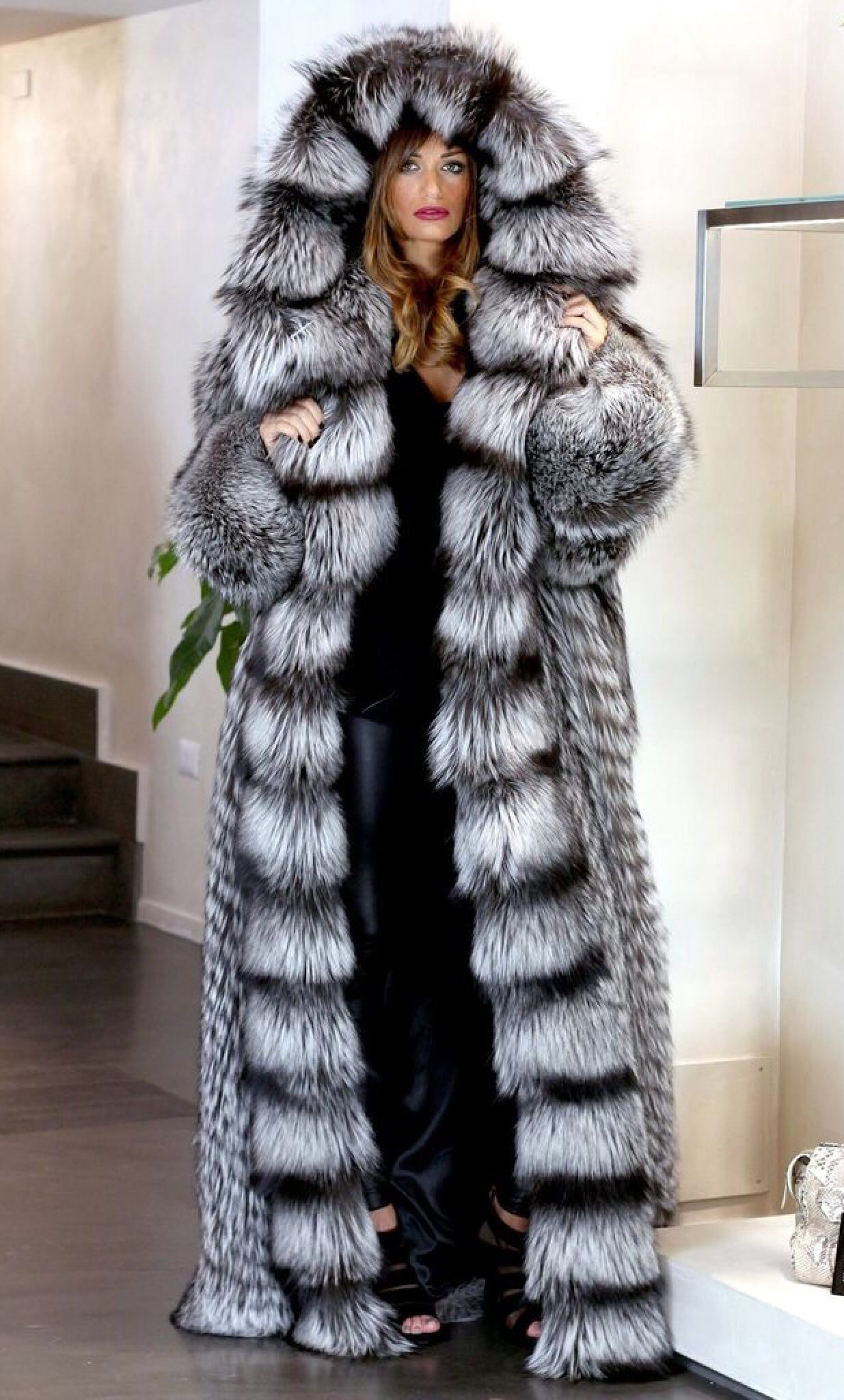 aed8a886dbf Giant hooded Silver fox fur coat
