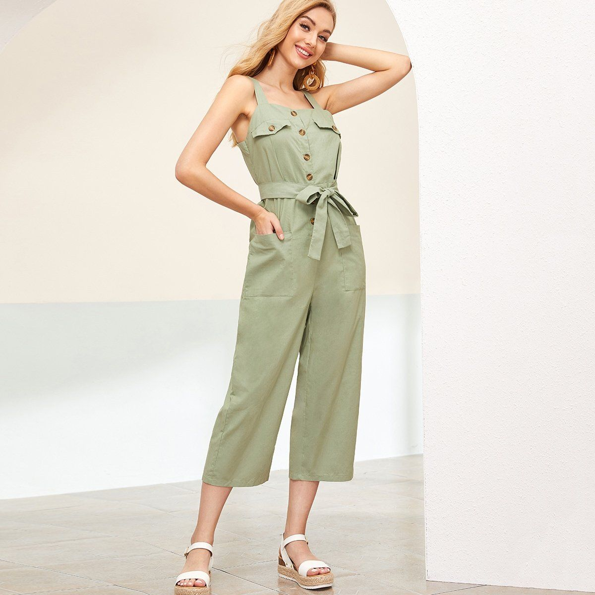 Solid Double Pocket Belted Cargo Jumpsuit Jumpsuit Clothes For Women Fashion