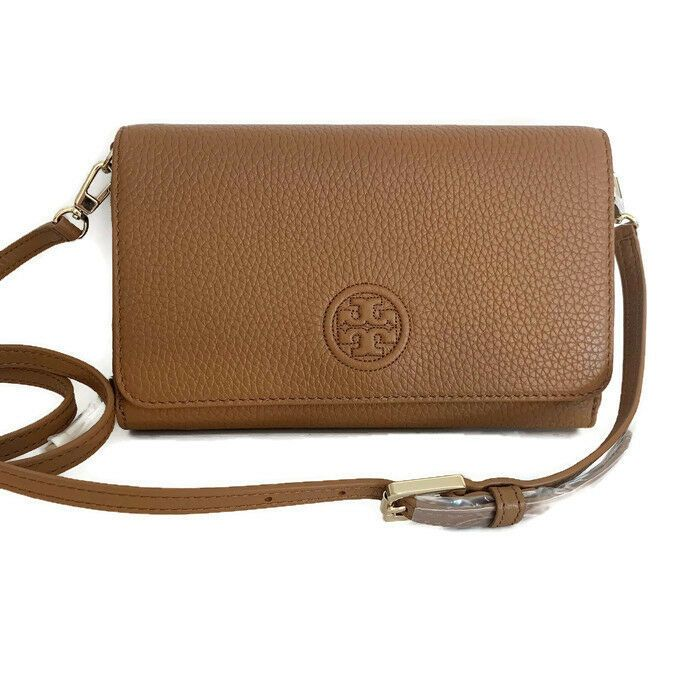 0ce7c1d247f9 Tory Burch Bombe Flat Wallet Cross-Body ~ Bark Brown Leather ~ NWT  Organizer Bag  ToryBurch  MessengerCrossBody
