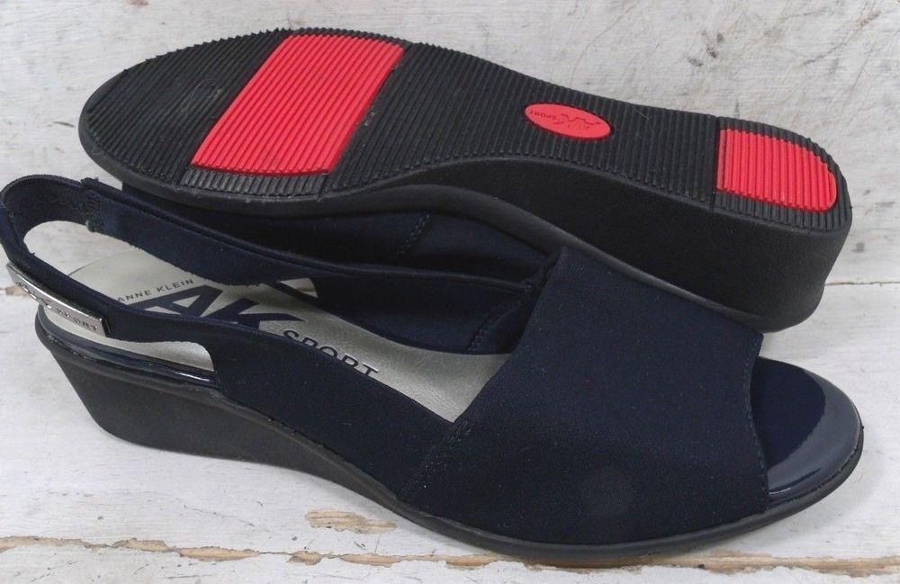 Anne Klein Womens Sport Jaye Navy Blue Slingback Wedge