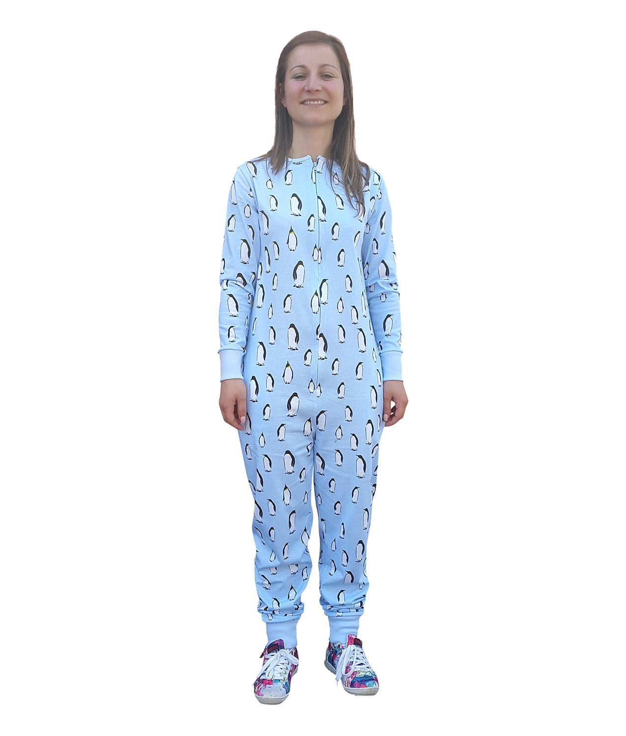 """I'm pretty sure there's a lot more to life than being really, really, ridiculously good looking."" - Zoolander  Our new Zooland Adult Onesie is a tribute to the film Zoolander. Its made from cool blue cotton with a penguin print so you can strut and pout in style!"
