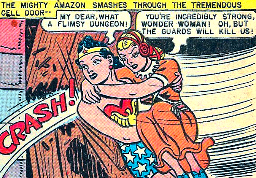 What A Flimsy Dungeon Wonder Woman 27 1948 By William Moulton Marston H G Peter Wonder Woman Comic Retro Comic Comic Book Heroes