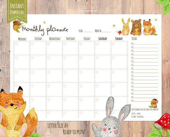 Monthly Planner Printable Calendar A4 Letter Instant Download