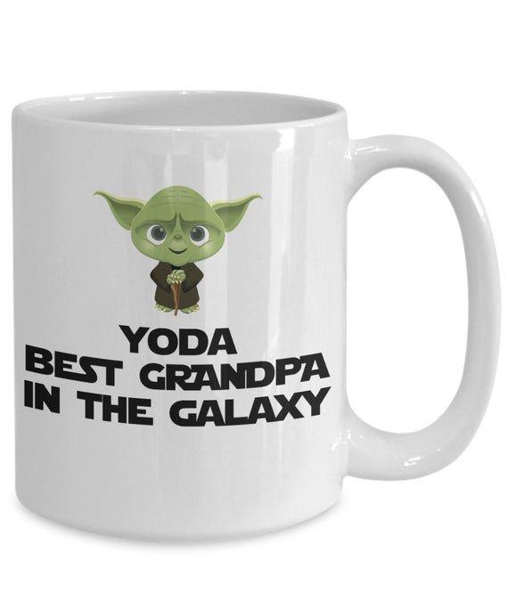 Yoda Best Grandpa In The Galaxy Funny Coffee Mug - Gift For Grandfather - Grandpa Birthday Gift - Happy Birthday Grandpa - Christmas Grandpa