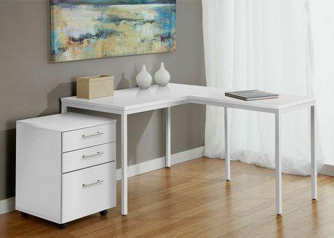 Modern White L Shaped Corner Parson S Desk With Mobile File Cabinet L Shaped Desk White L Shaped Desk White Corner Desk
