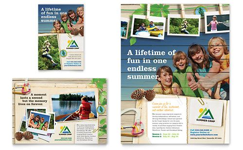Kids Summer Camp  Flyer Template Design Sample  Print Design