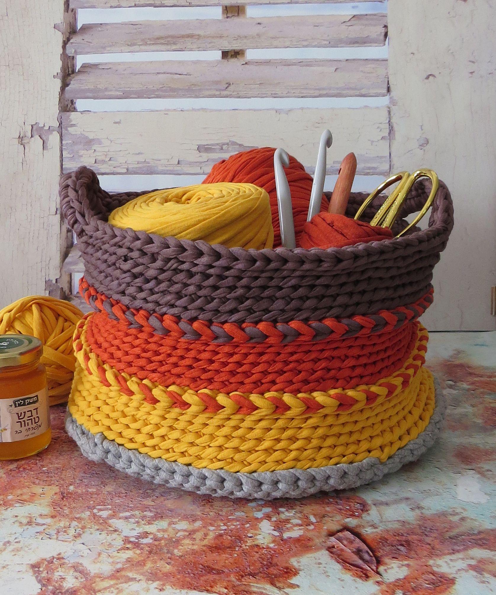 Crochet basket trapillo pinterest trapillo cesto y - Cesta de cuerda y ganchillo ...