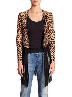 Theperfext Christy Leopard Print Calf Hair Leather Fringe Jacket | Coat, Jacket and Clothing