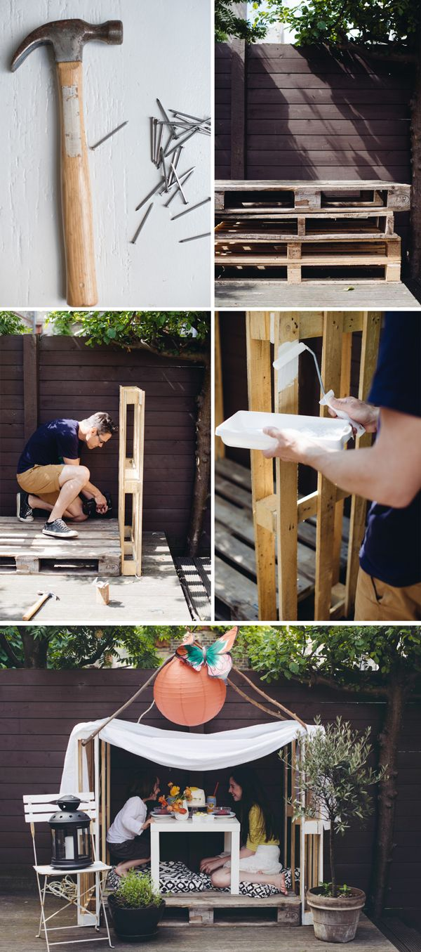 DIY Three Pallet Wooden Playhouse So Easy