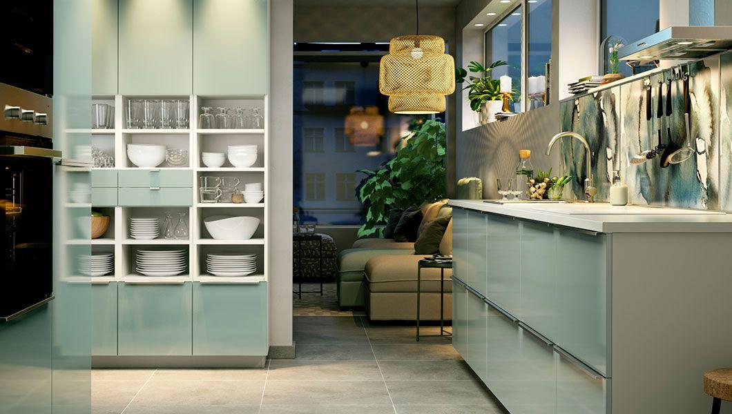 Home Kitchens 2017 Kitchen Shelves Ikea Decor Green