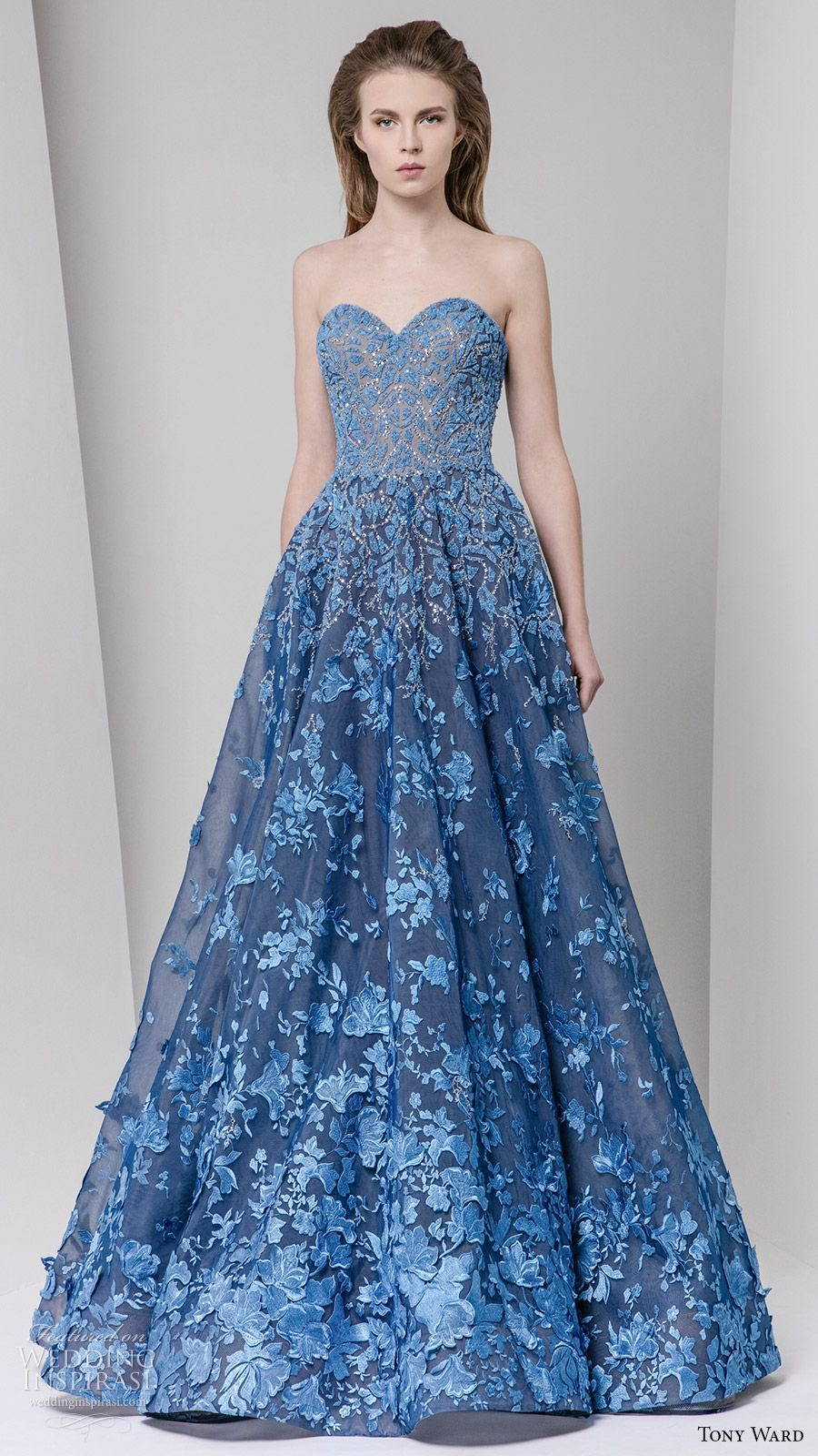 tony ward fall 2016 rtw strapless sweetheart a line gown blue ...