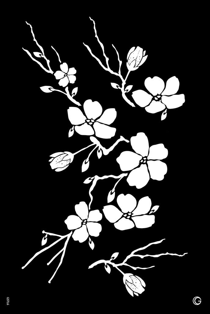 Elite - HD Stencil - Cherry Blossom - L06 (1pc/pk)