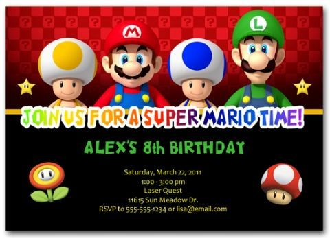 Mario Bros Invitations mariobrosinvitations mariobrosbirthday – Mario Party Invites