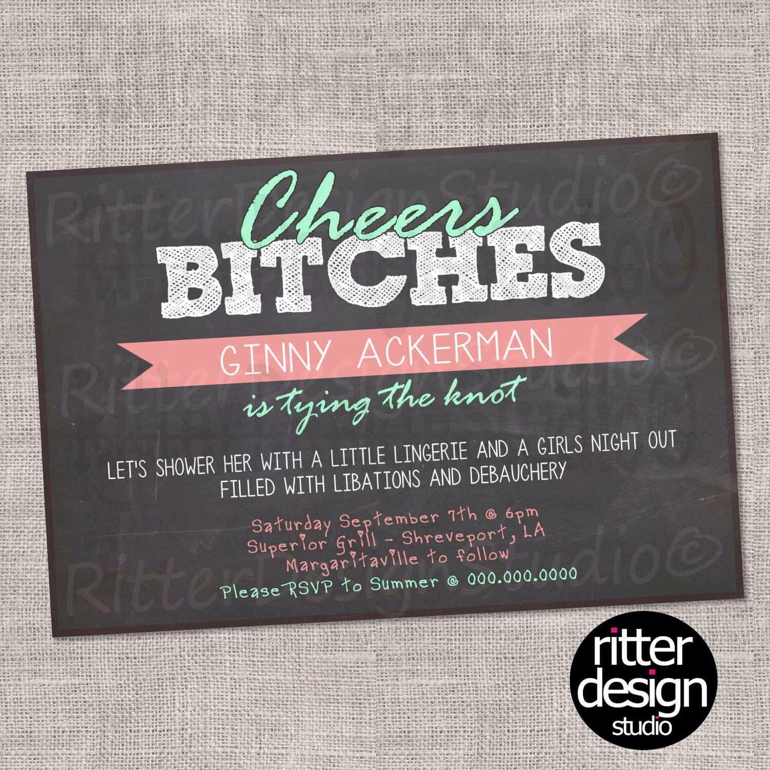 Chalkboard Wedding Bachelorette Lingerie Party Shower Invitation - Printable by RitterDesignStudio on Etsy (null)