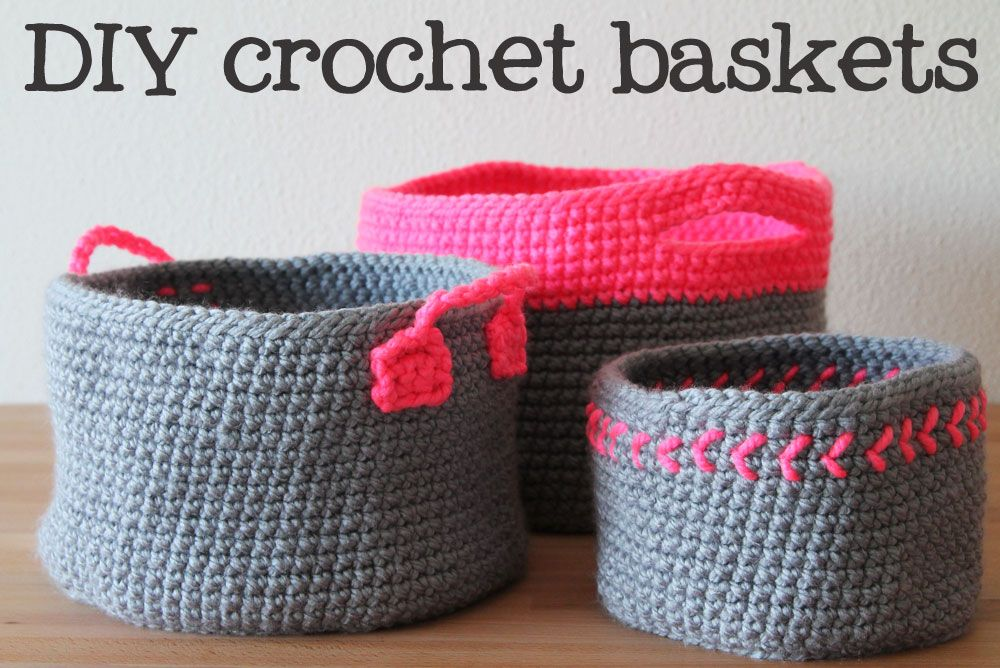 Free crochet pattern for Neon touch baskets and other items like cute pot holders and coasters
