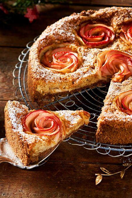 Luftiger Bratapfel-Rosenkuchen #blätterteigrosenmitapfel