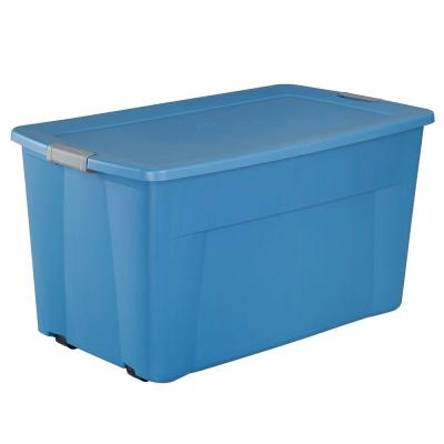 Sterilite 45 Gal Wheeled Latching Storage Tote In Lapis Blue 19481004 Tote Storage Storage Bins With Wheels Storage