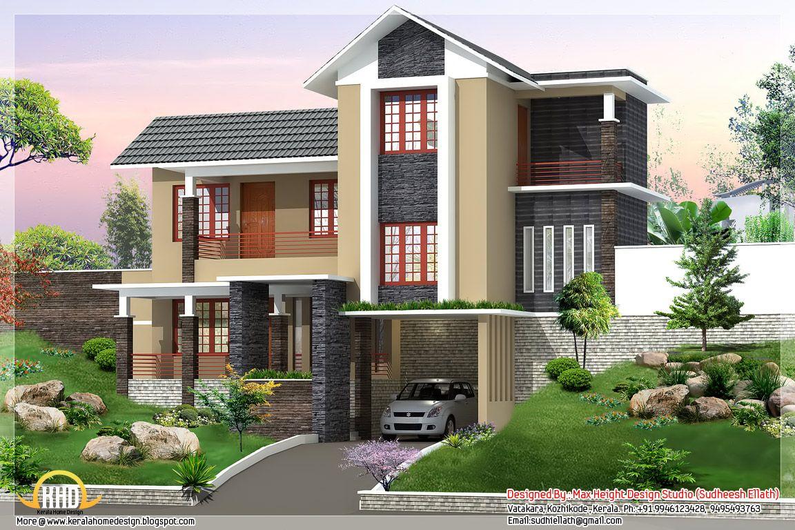 square feet bedroom trendy kerala home elevation contemporary villa design home design contemporary villa square feet bedroom kerala style modern and - Trendy Home Design