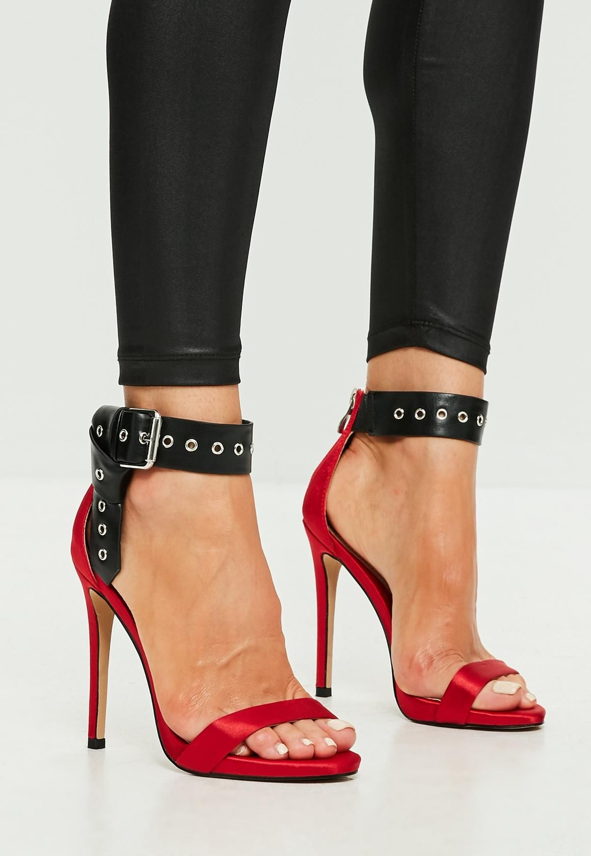 Missguided - Red Folded Ankle Barely There Heels