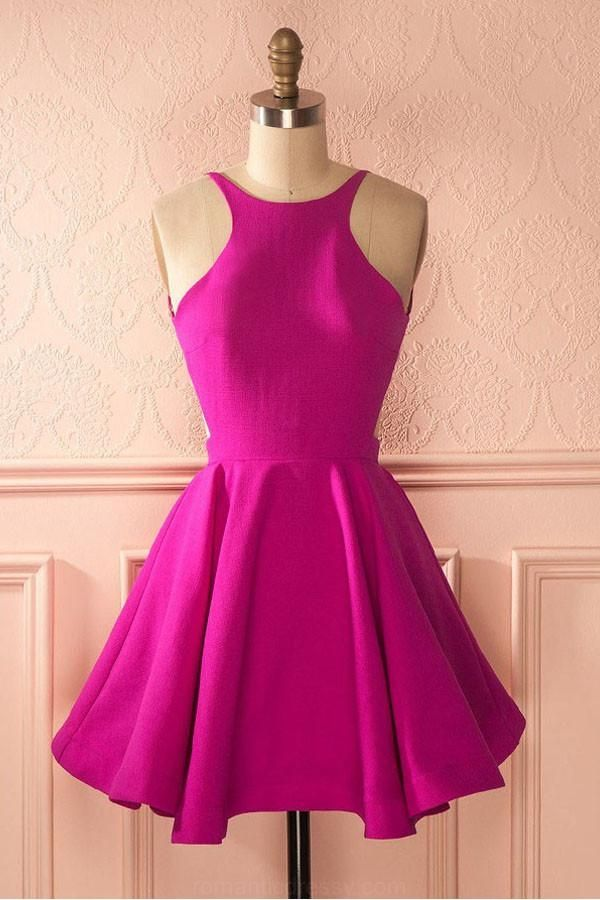 Vogue Prom Dress Wedding Dresses Cute Hot Pink Backless Short ...