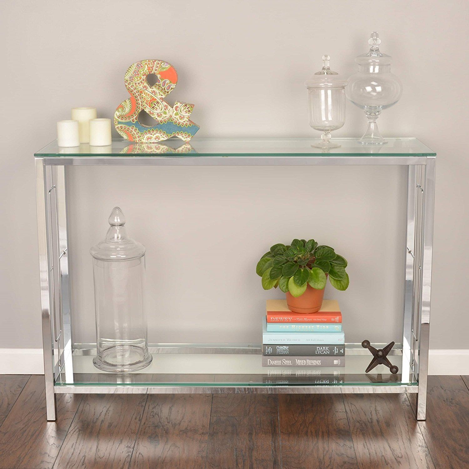 Amazon Com Chrome Metal Glass Accent Console Sofa Table With Shelf Kitchen Dining Glass Entryway Table Glass Console Table Console Table