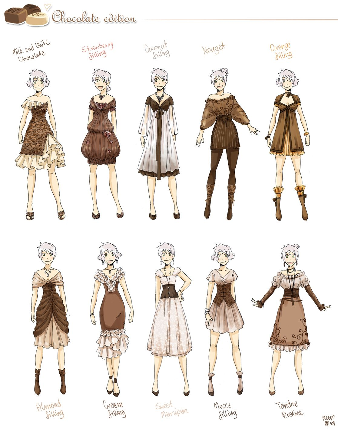 Various Female Clothes 6 By Meago On Deviantart Anime Outfits Manga Clothes Fantasy Clothing