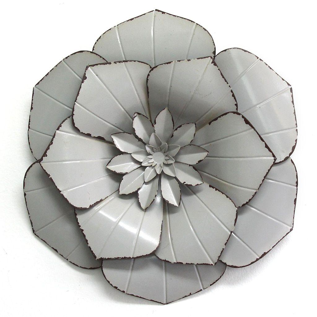 Stratton Home Decor Grey Metal Flower Wall Decor In 2020 Metal Flower Wall Decor Flower Wall Decor Metal Flowers