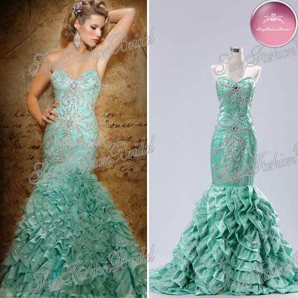 ruffle mermaid emerald green fishtail dresses | My Style 2 ...