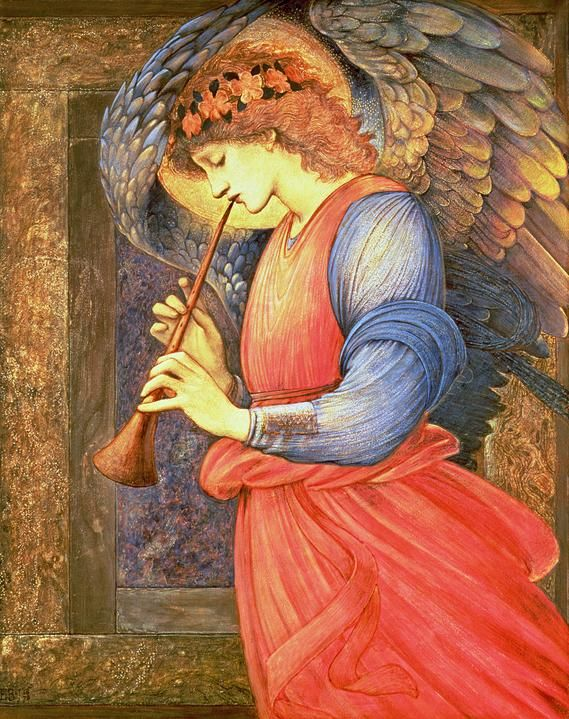 An Angel Playing a Flageolet - Edward Coley Burne-Jones