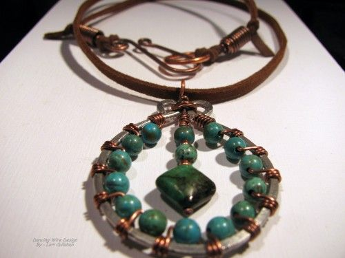 Turquoise wire-wrapped necklace