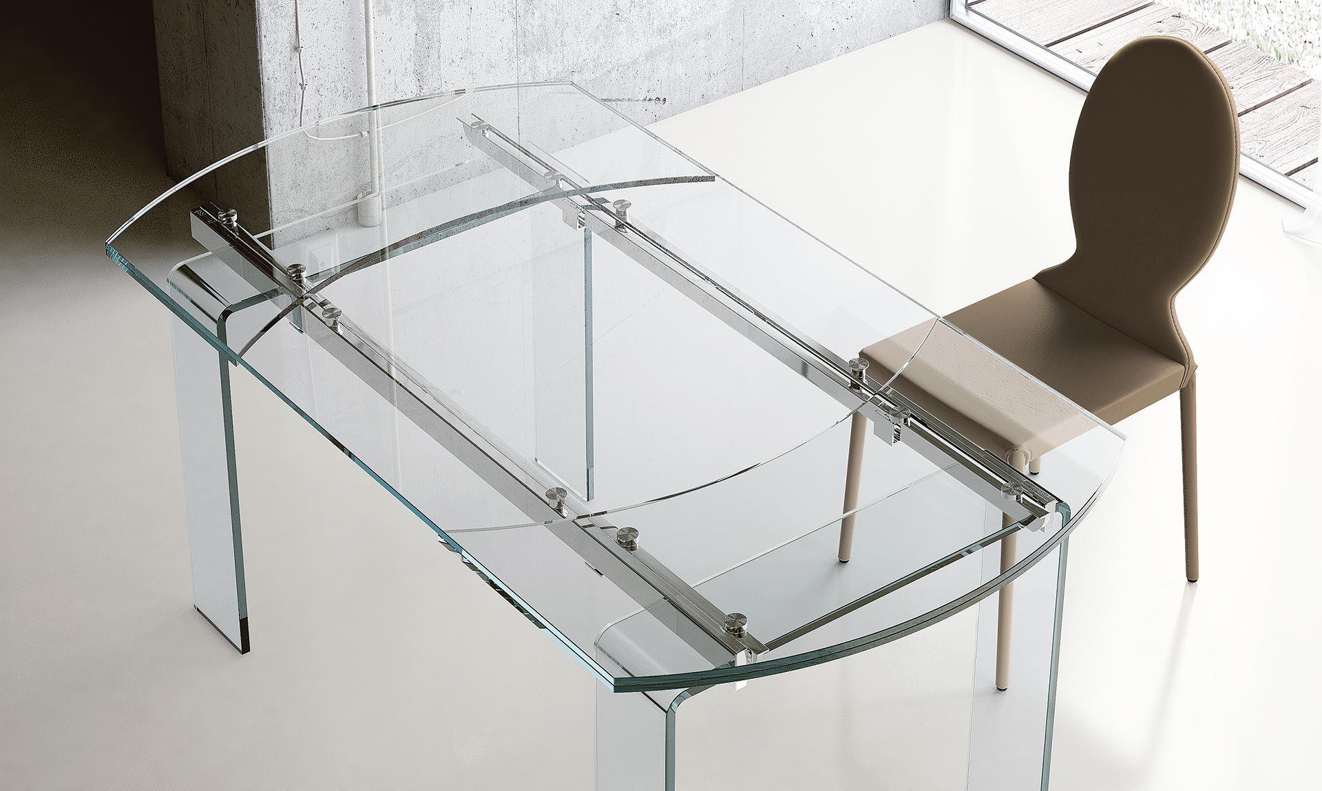 Tavolo Cristallo In Vetro.Tavolo Ovale Allungabile In Vetro Lord Tavolo Ovale
