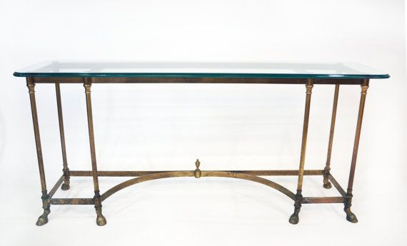Simply Gorgeous Solid Brass Console Table By LaBarge, With LaBarge  Signature Hoof Feet. Table