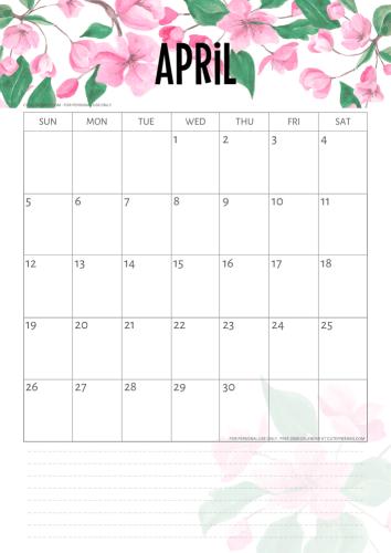 Cherry Blossoms 2020 2021 Calendar Printable Pdf 2021 Calendar Calendar Free Printable Calendar