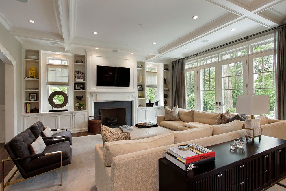 Built Ins Around Fireplace Living Room Contemporary With Built In