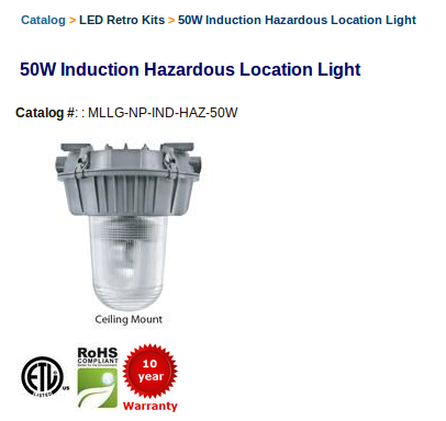50W - 4000 Lumens - Replaces 100W HID Color Temperature: 5000 K Lumens: 4000 Replaces: 100W HID Color Rendering Index (CRI): 83 Rated Life: 100,000 hrs IP Rating: Explosion Proof Working Voltage: 120-277 VAC Warranty: 10 years Catalog #: MLLG-NP-IND-HAZ-50W #LED #LEDLighting
