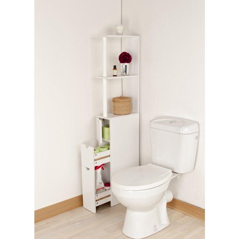 Meuble de rangement WC toilettes ou salle de bains blanc