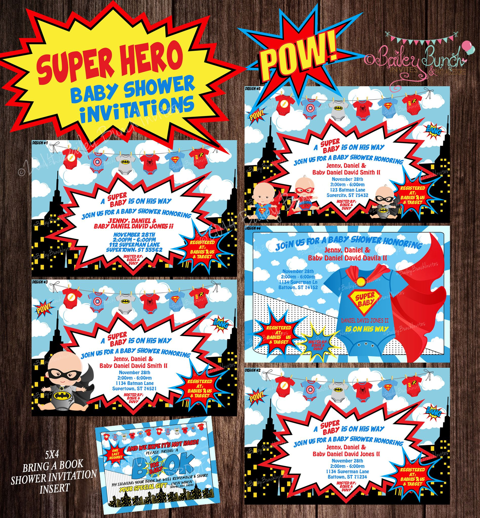 Magnificent Baby Shower Superhero Invitations Embellishment ...