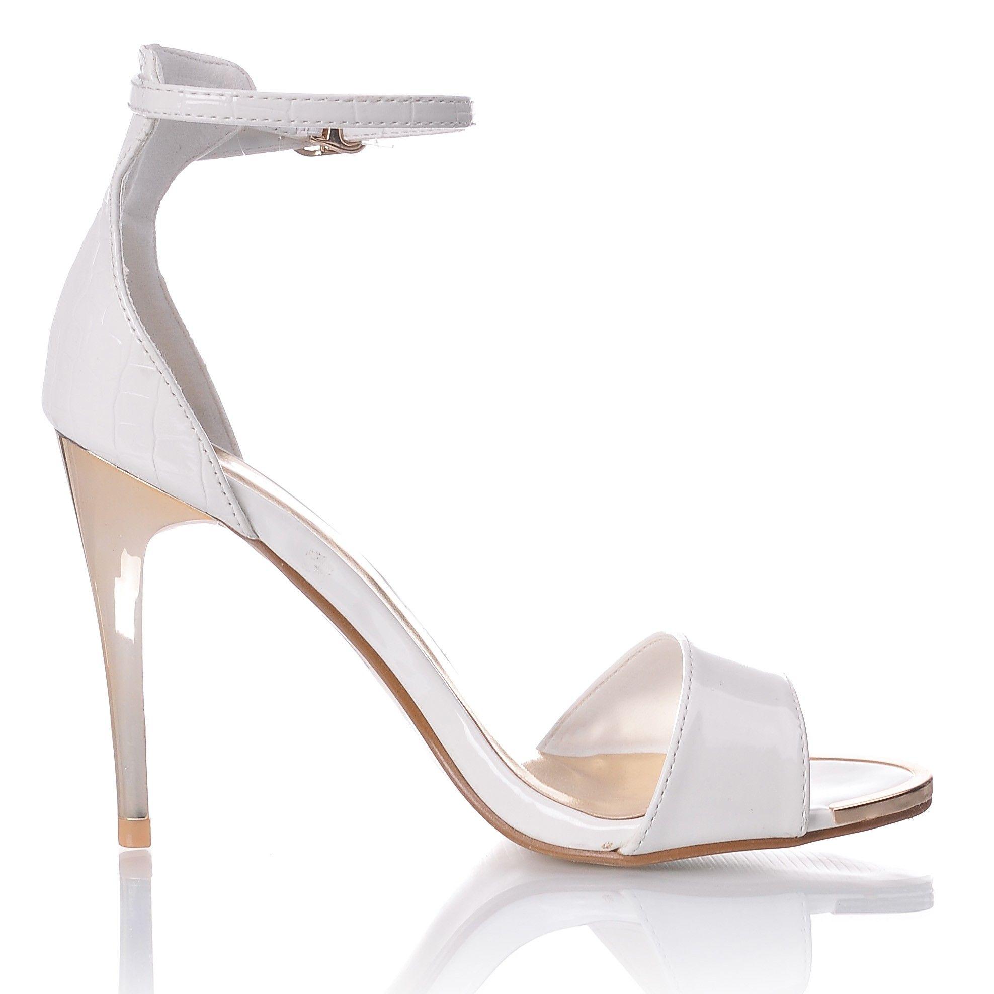Sandaly Biale Na Obcasie Lakierowane Sandaly Na Zlotej Szpilce Shoes Sandals Fashion