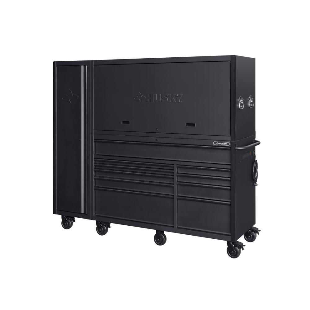 Heavy Duty 80 In W 10 Drawer Deep Combination Tool Chest And Rolling Cabinet Set In Matte Black 3 Piece In 2020 Garage Storage Units Tool Chest Tool Storage