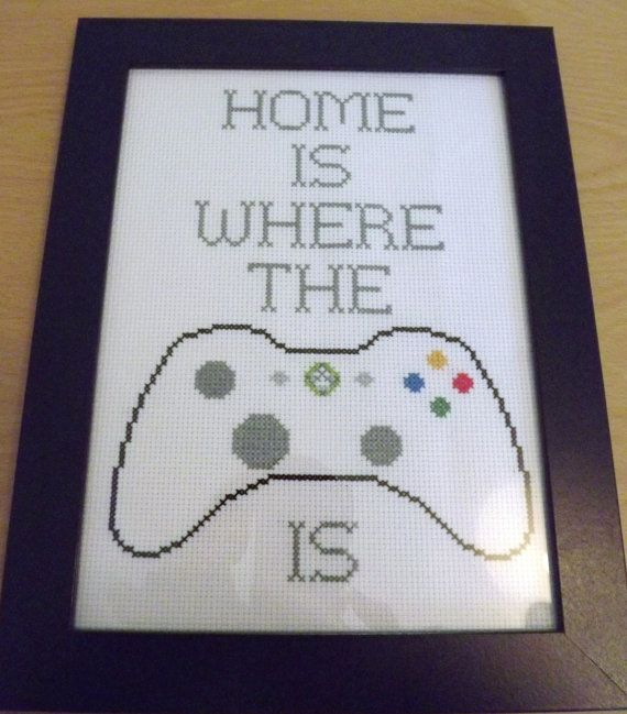Cross stitched XBOX 360 decorative framed by PaintedLadyCrafts, £15.00