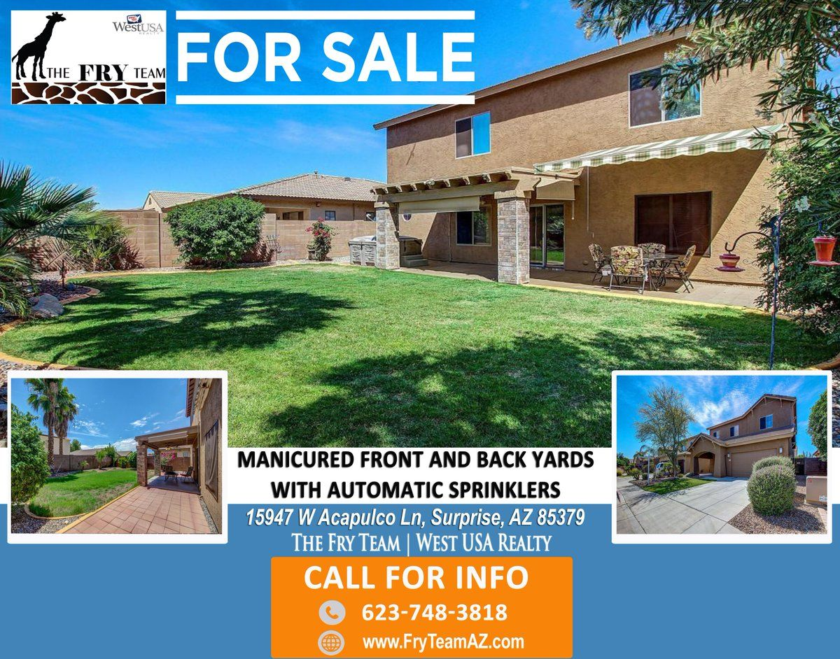 """MANICURED FRONT AND BACK YARDS WITH AUTOMATIC SPRINKLES"" 