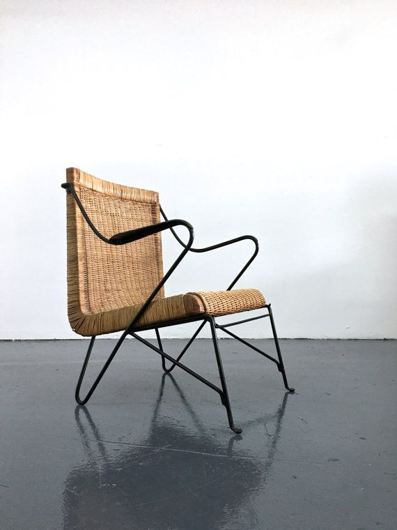 Crazy Rare Italian Wicker And Iron Lounge Chair, 1950s. Wrought Iron Frame  With Unusual Base And Arm Rests, Single Seat Comprised Of Woven Wicker And
