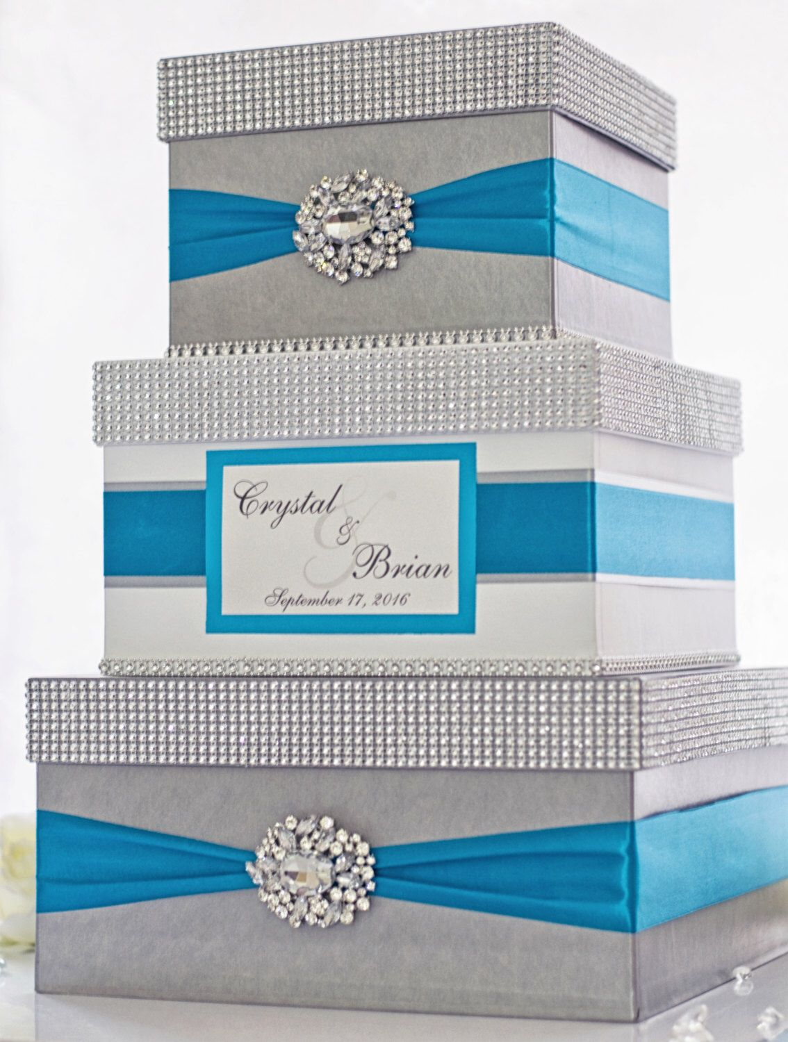 Satin wedding card box with royal blue flower and rhinestone mesh trim - Card Box Wedding Box Wedding Money Box 3 Tier Personalized Silver White And Turquoise Aqua Blue