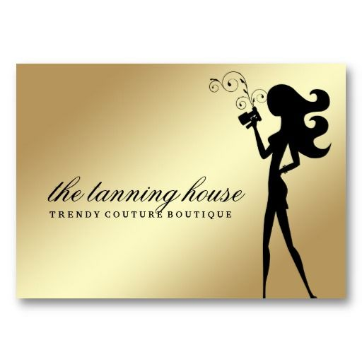 311 Spray Tan Fashionista Silhouette Gold Grant Business Card Template